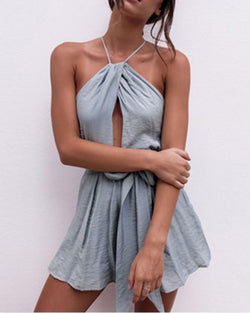 Slim-fit Sleeveless Sling Shorts Romper