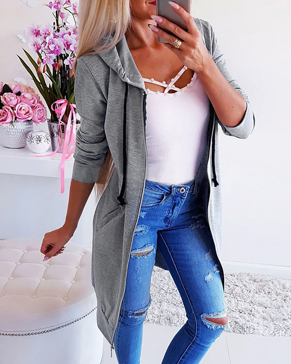 Solid Hooded Drawstring Zipper Longline Coat
