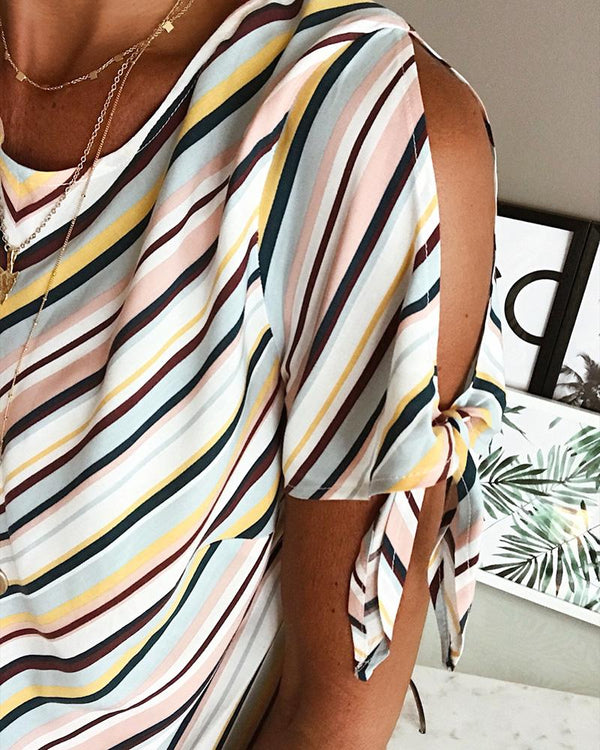 Cold Shoulder Colorful Striped Casual Blouse