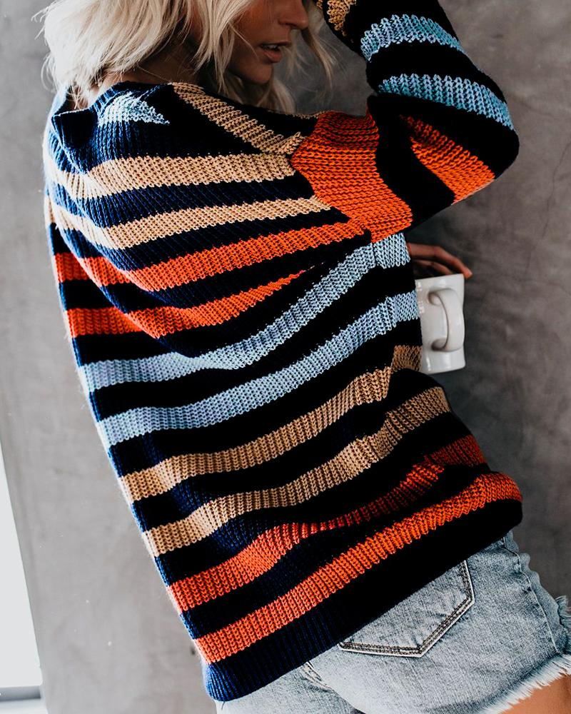 Striped Patchwork Knitting Casual Sweater