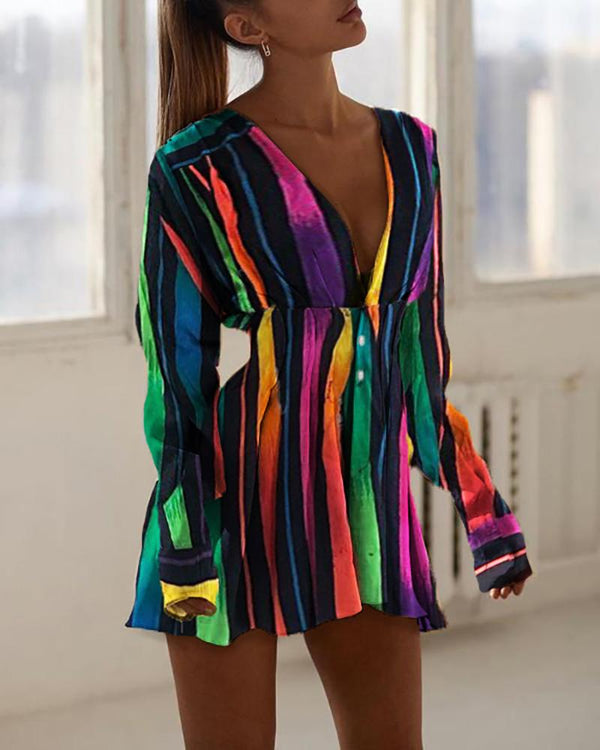 Colorful Striped Tight Waist Dress