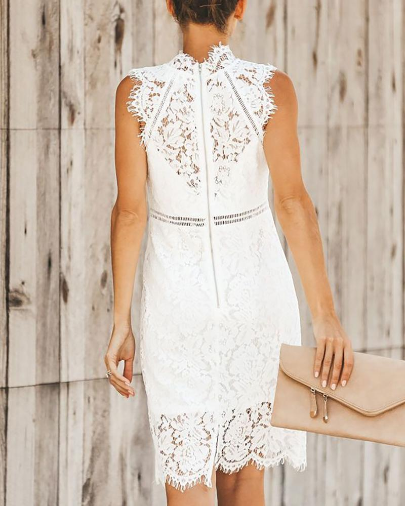 Sleeveless Crochet Eyelash Lace Dress