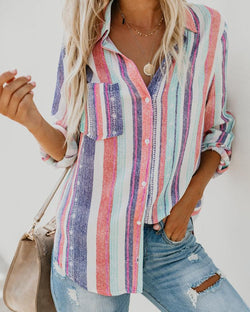 Colorful Stripes Long Sleeve Button Pocket Blouse