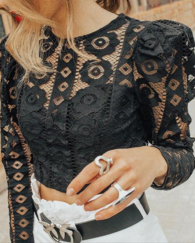 Hollow Lace Long Sleeve Tops