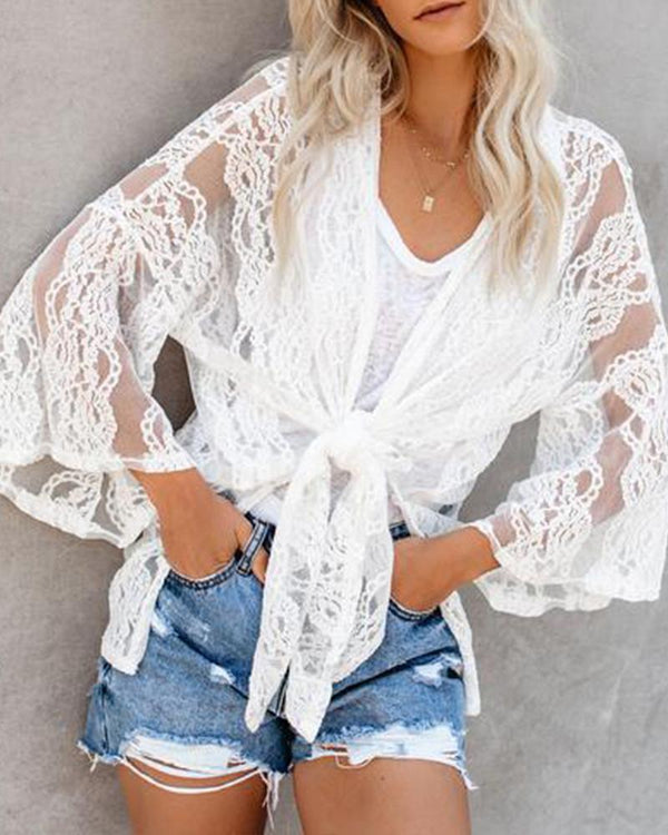 Summer New Lace Trumpet Sleeve Lace Blouse