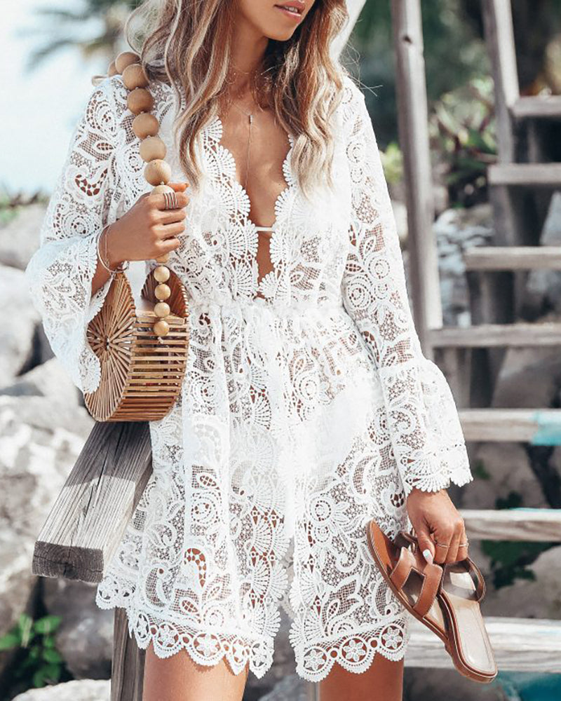 V-Neck Hollow Out Irregular Lace Dress