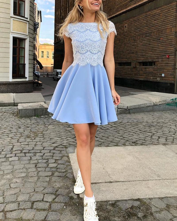 Eyelash Lace Bodice Pleated Dress