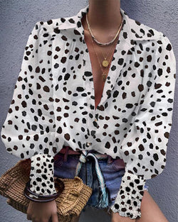 Leopard Bishop Sleeve V Neck Shirt