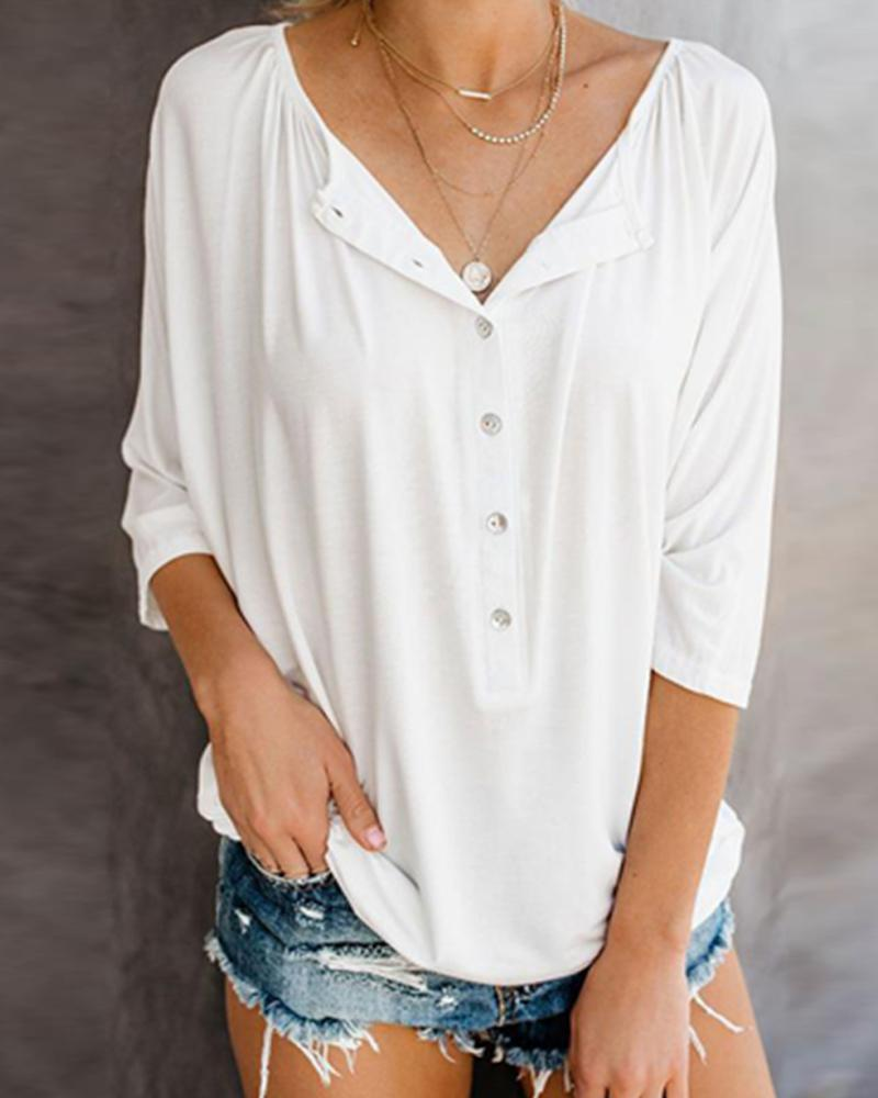 Plain V Neck Blouse
