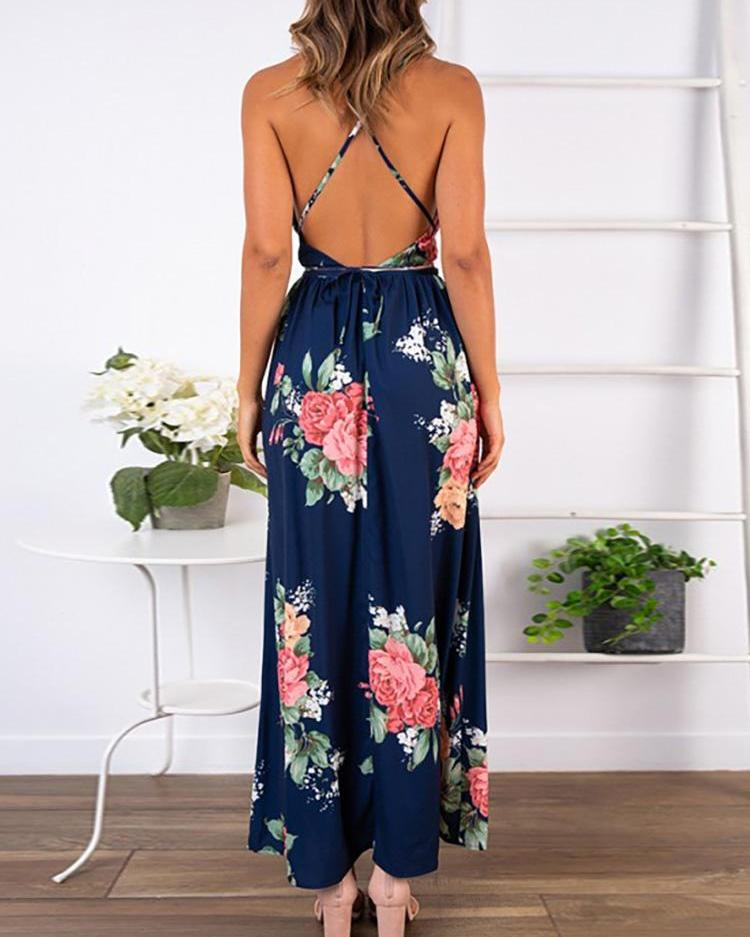 Digital Printing Sexy Straps Backless Sloping Collar Dress