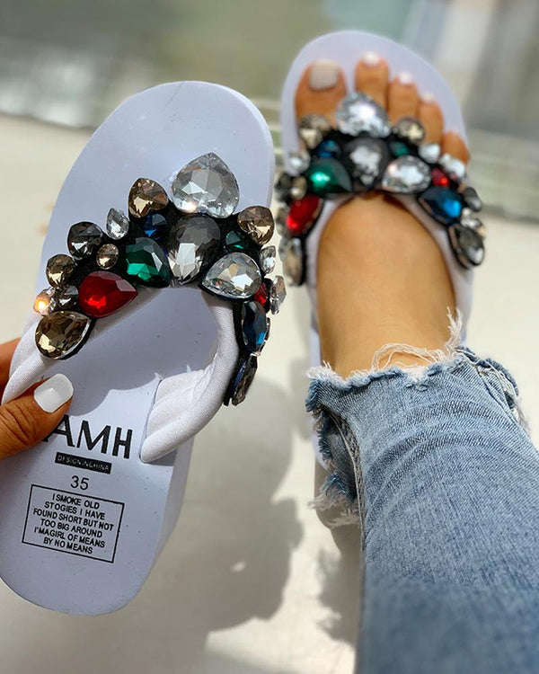 Toe Post Beaded Platform Muffin Sandals