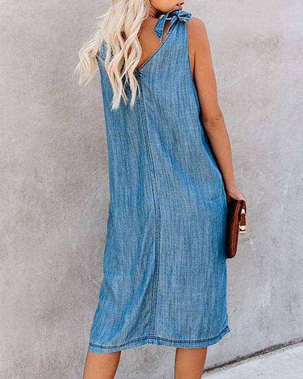 Tied Strap Dual Pocket Denim Casual Dress