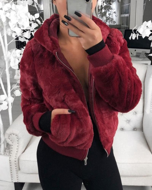 Plush Rabbit Fur Faux Fur Coat
