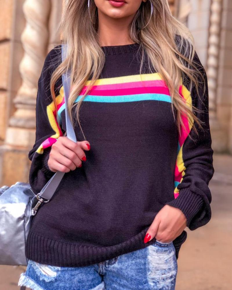 Striped Long Sleeve Fashion Knitted Sweater