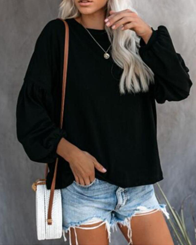 Solid color long-sleeved T-shirt