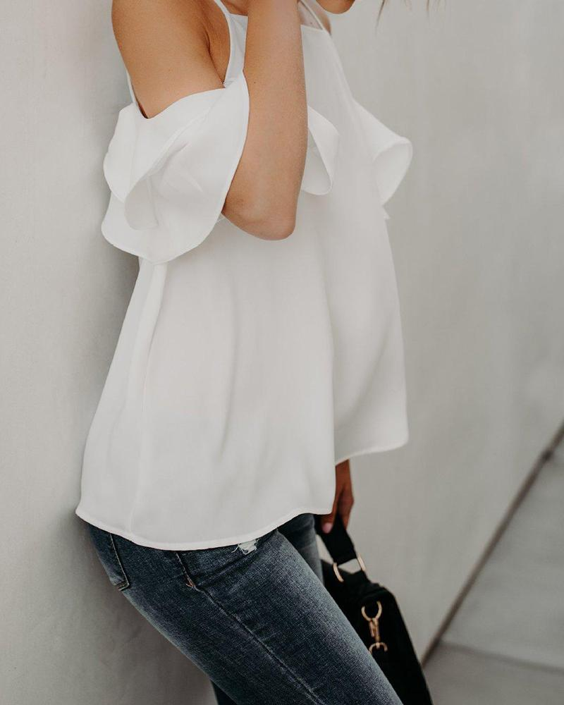 Cold Shoulder Spaghetti Strap Tops