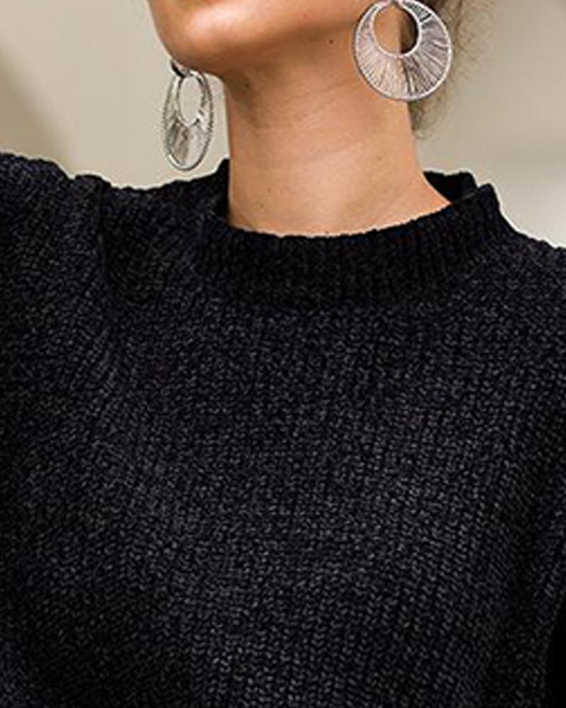 Puff Sleeve Knitted Crop Sweater