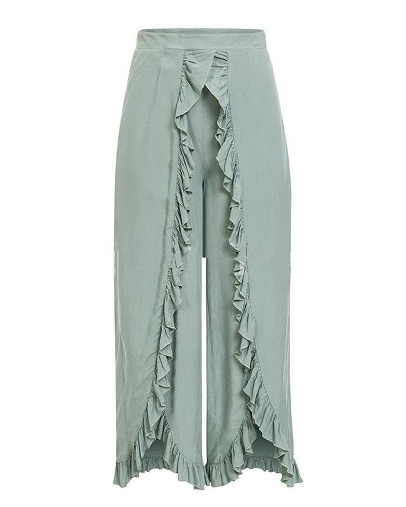 Fashion Wrinkled Edge Loose Long Pants
