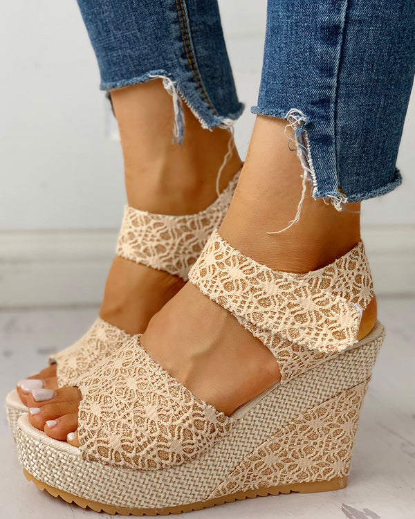 Lace Spliced Peep Toe Platform Wedge Sandals