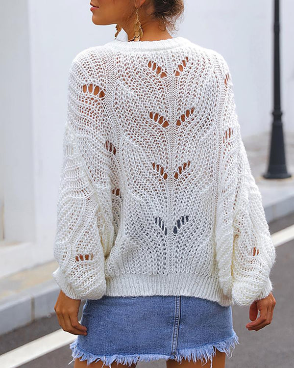 Hollow Out Knitting Batwing Sleeve Casual Sweater