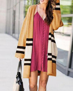 Striped Loose Mid-length Knit Cardigan Coat