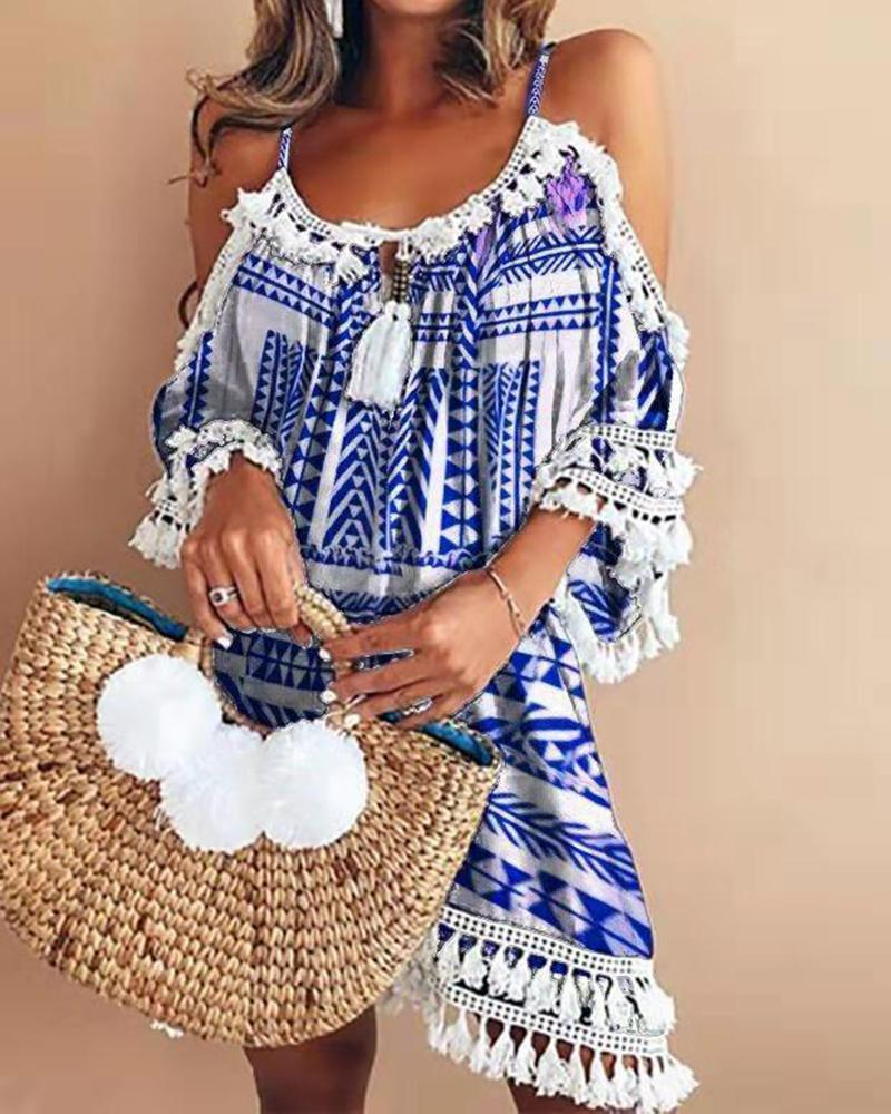 Halter fringed printed off-shoulder dress