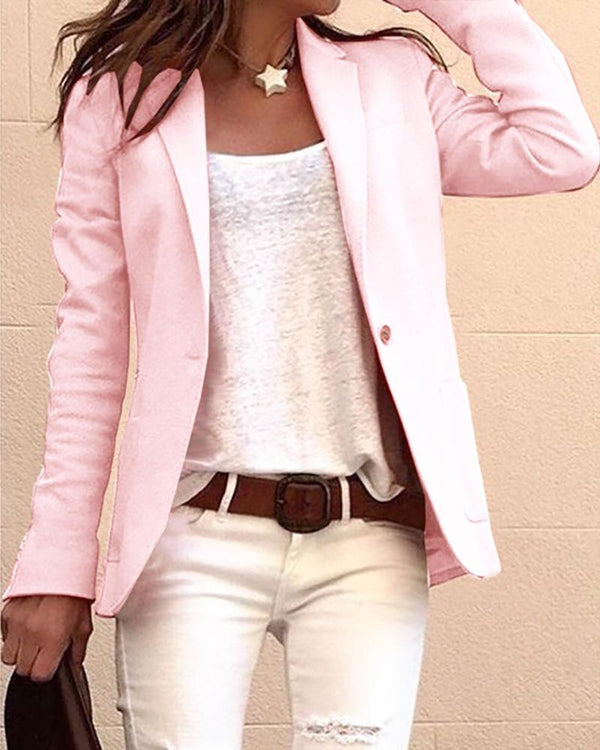 Solid Long Sleeve Single Buttoned Blazer Coat