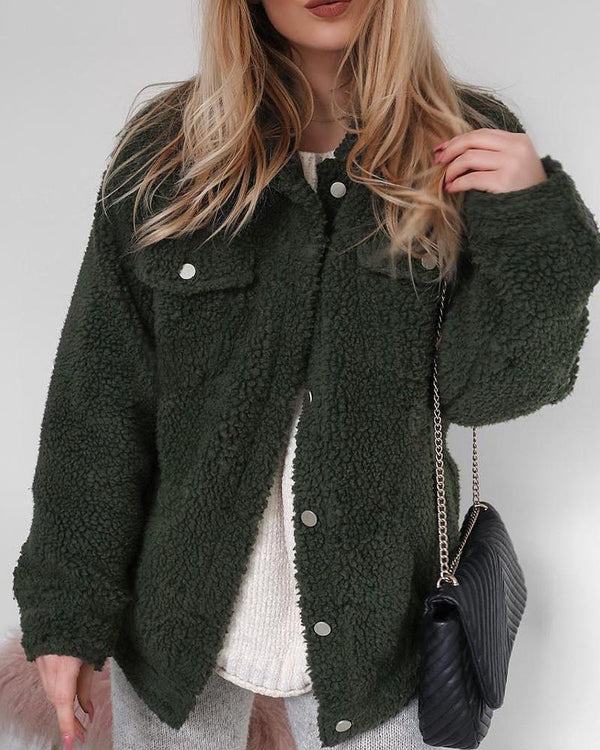 Oversized Double Pocket Teddy Jacket