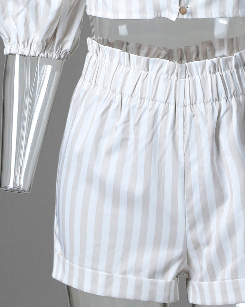Striped Puffed Sleeve Top & Short Set