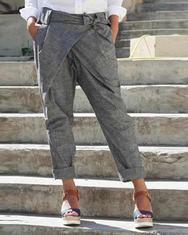 Fashion Bow Straight Pants