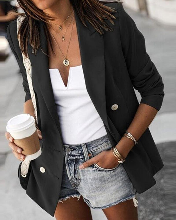 Solid Three-Button Casual Blazer