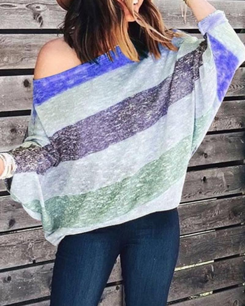 Striped Colorblock Batwing Sleeve T-Shirt