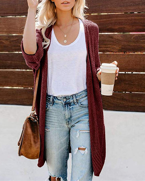 Solid Open Front Casual Cardigan