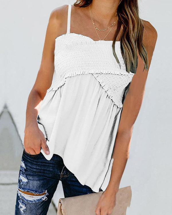 Casual cross pleated spaghetti strap blouse