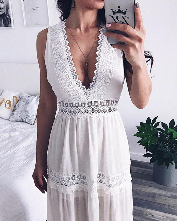Lace-up swing holiday sleeveless chiffon maxi dress
