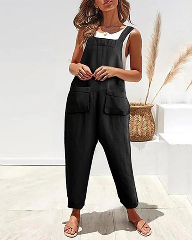 Casual Pocket Cotton and Linen Strap Jumpsuit