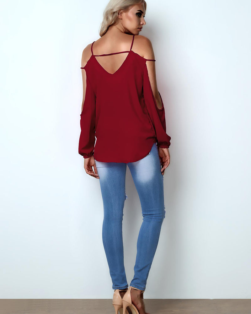 Spring Fashion Cold Shoulder Casual Top