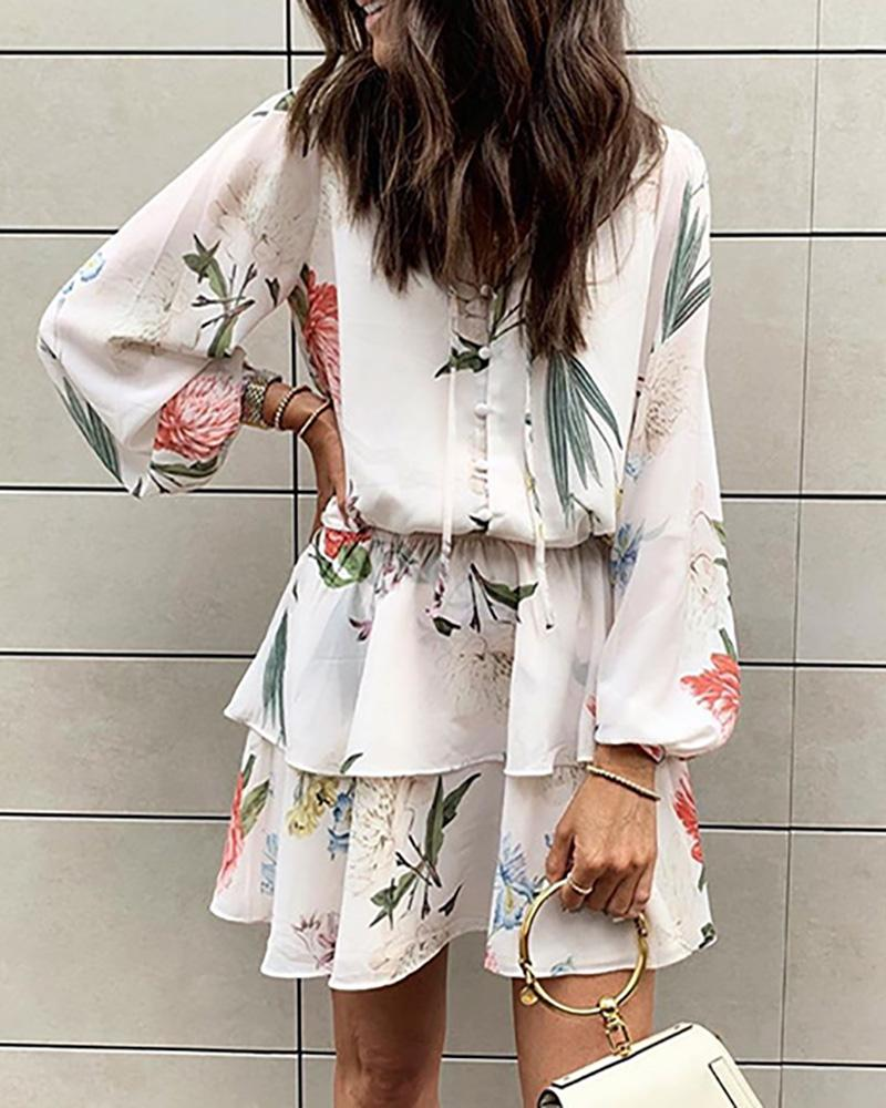 Floral Print Lace Up Puff Sleeve Top & Skirt Sets