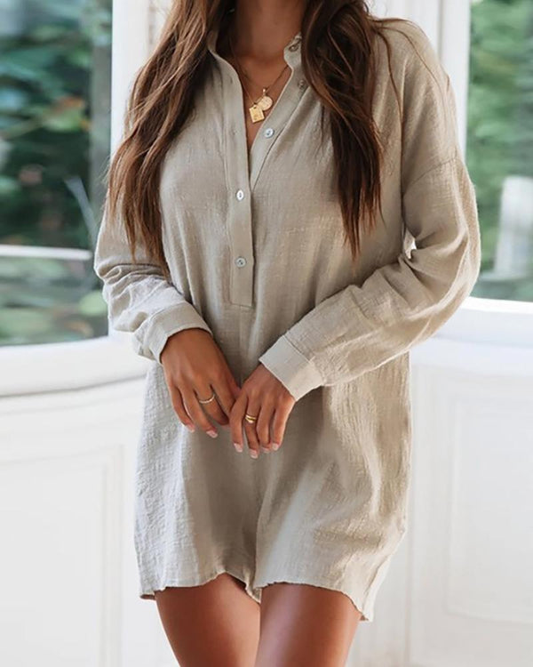 Solid Long Sleeve Casual Romper