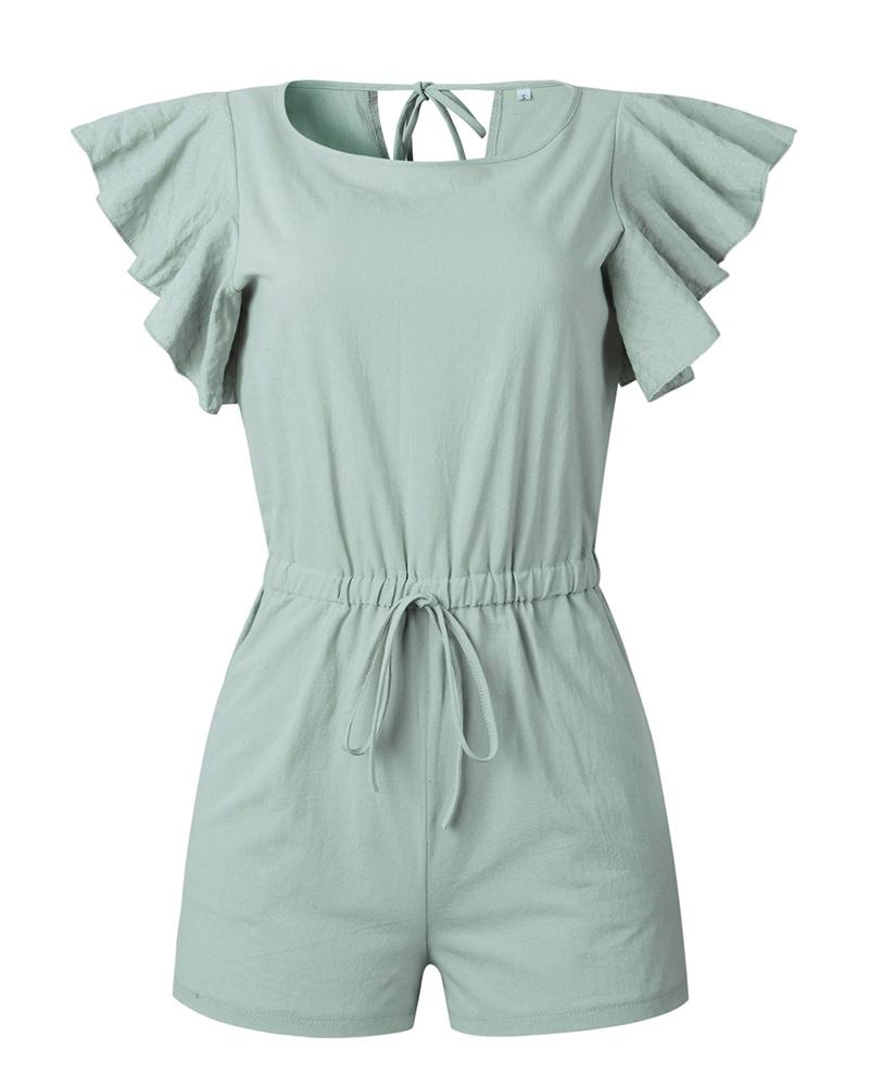 Spring and summer fashion ruffled pocket ties women's jumpsuit