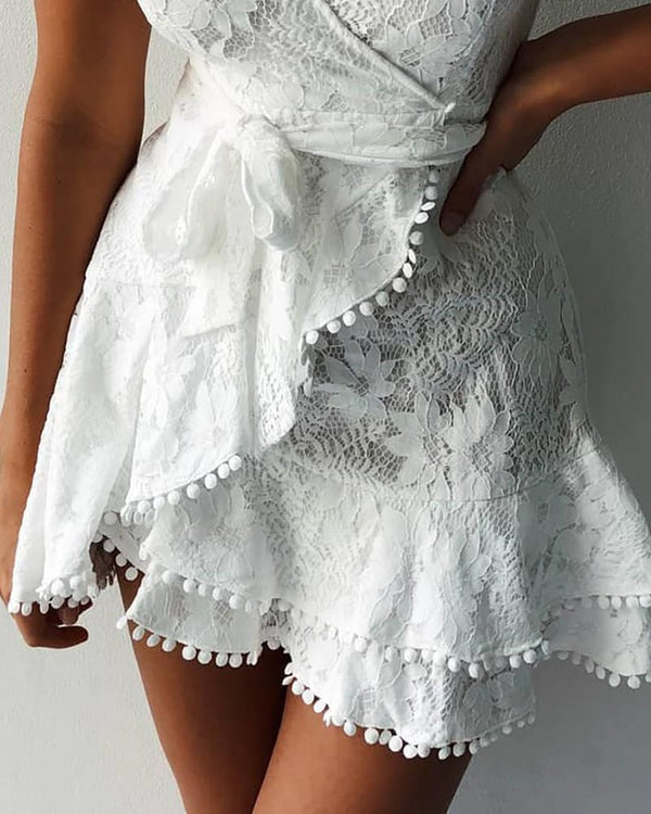 Pom Pom Crochet Lace Ruffles Dress