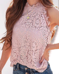 Eyelash Lace High Neck Casual Blouse