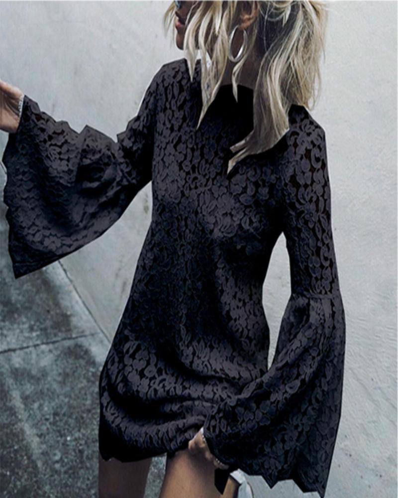Fashion trumpet sleeves lace women's blouse