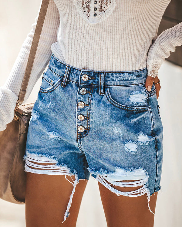 Denim Button Frayed Short