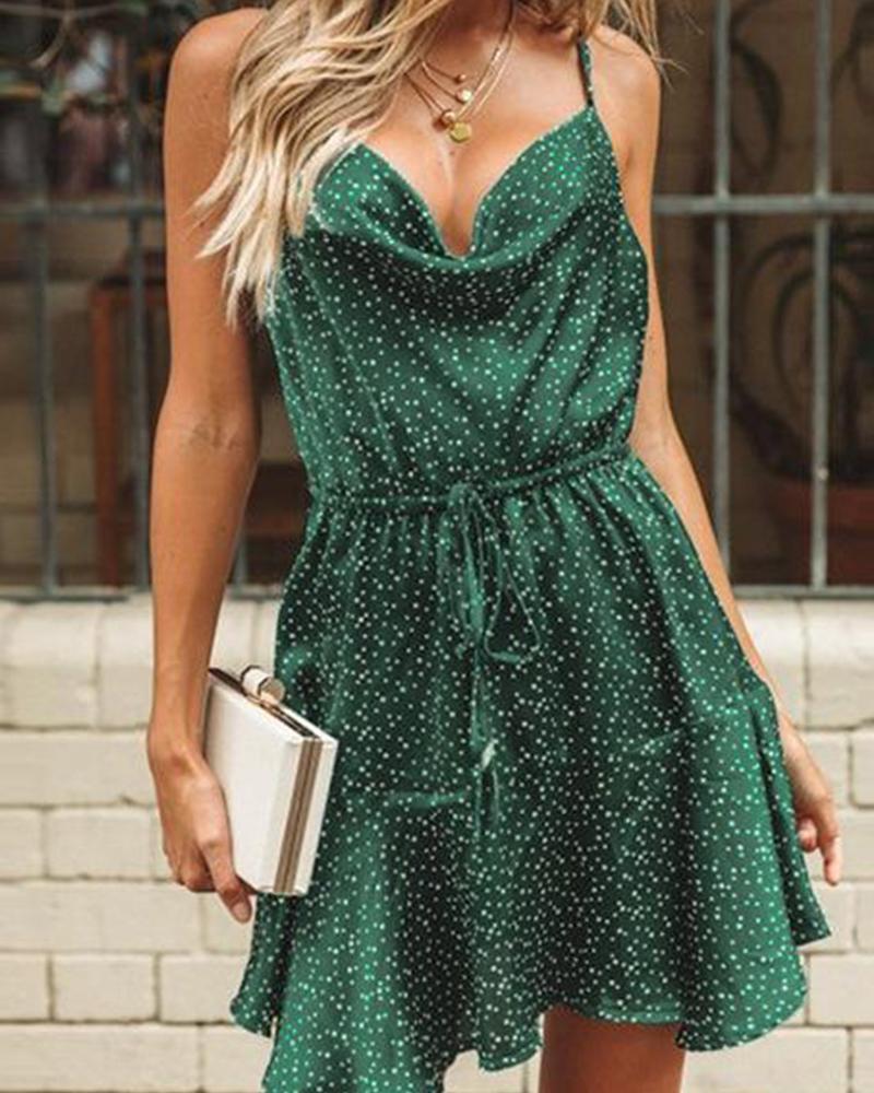 Sleeveless Floral Halter Swing Dress