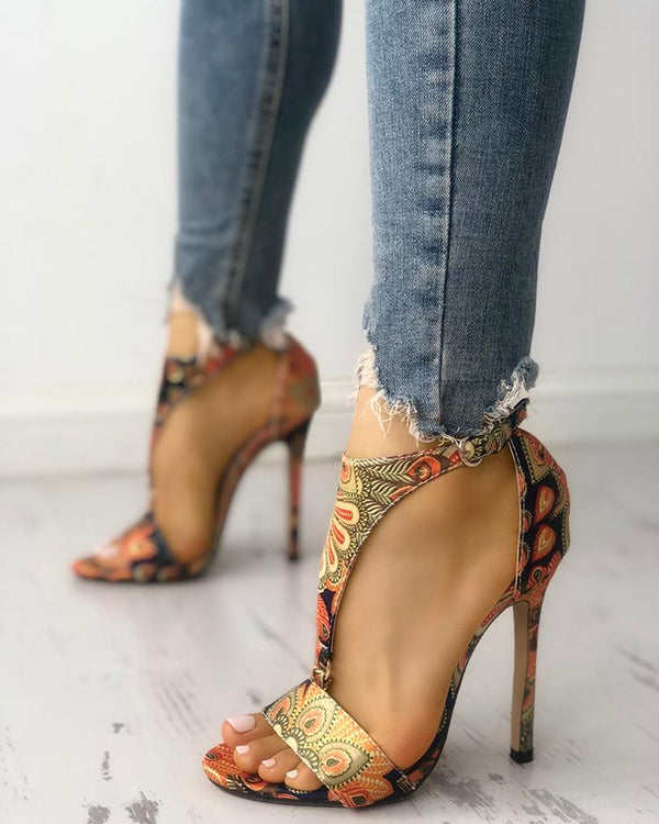 Peacock Feather Print T-Strap Thin Heeled Sandals