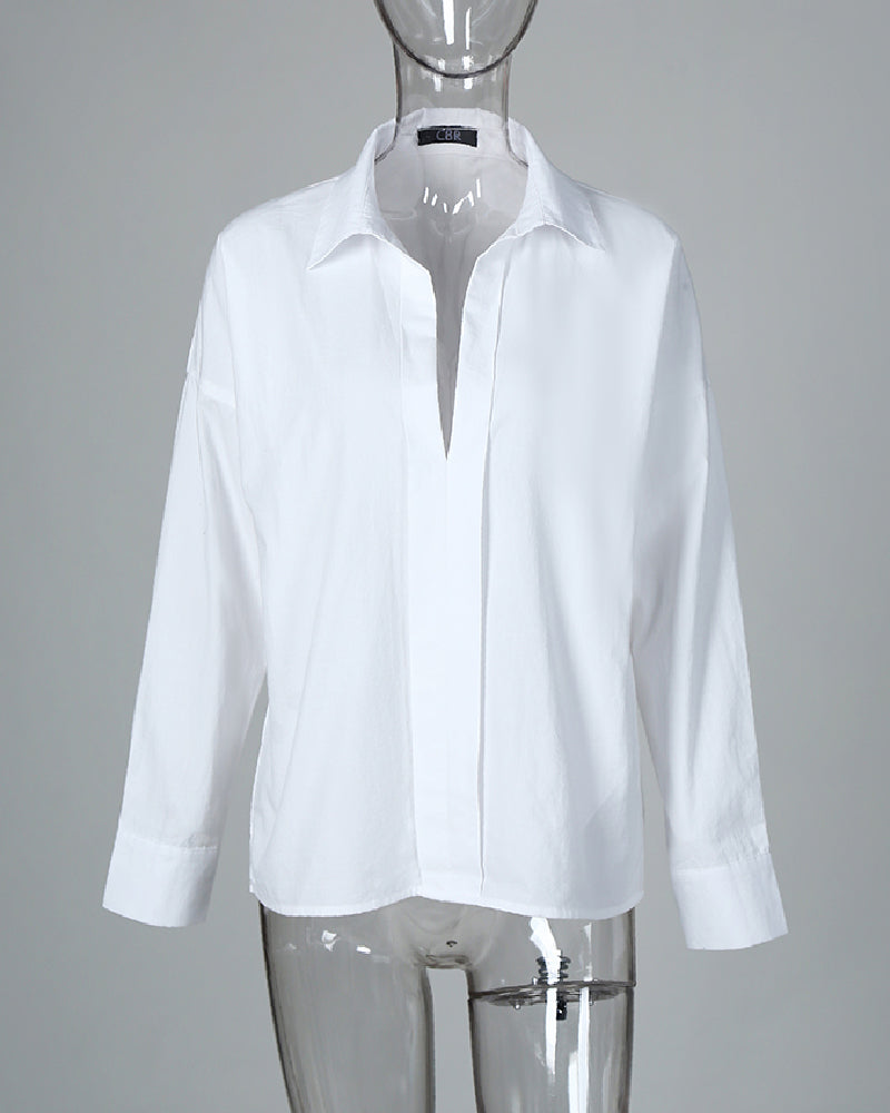 Solid Batwing Sleeve Casual Shirt