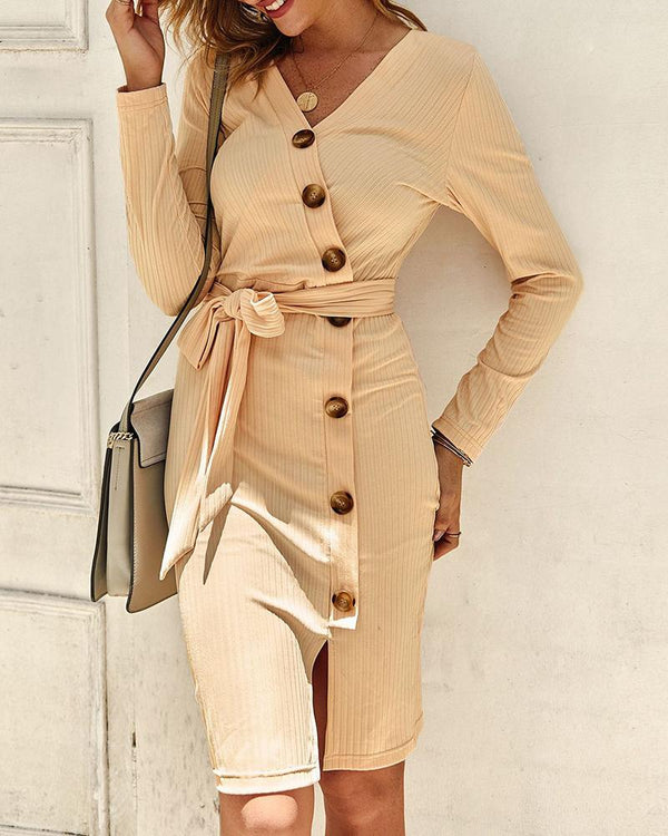 Solid Buttoned Knotted Slit Dress
