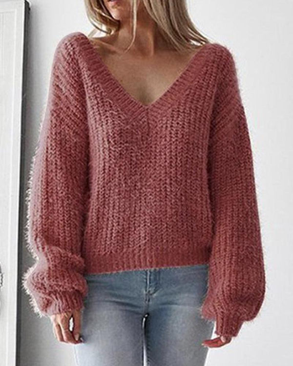 Casual V-Neck Leak Back Loosen Long Sleeve Knitted Sweater Pullover Top Blouse