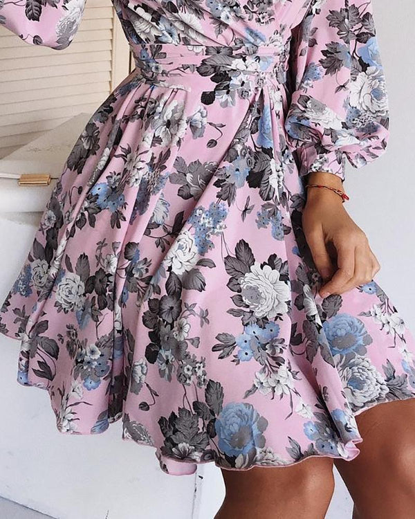 Lantern Sleeve V-Neck Wrap Floral Dress
